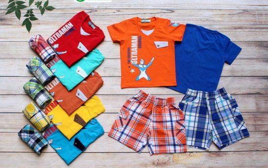 Quần áo trẻ em xuất khẩu giá sỉ 0901197946 - Bộ caro ultraman